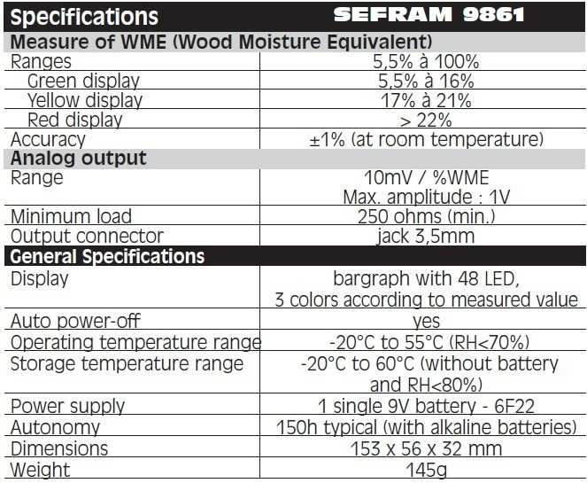 SEFRAM 9861 - Technical Specification