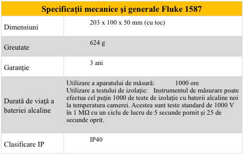 Fluke 1587 - Specificatii mecanice si gen