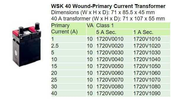 WSK 40 Technical Data