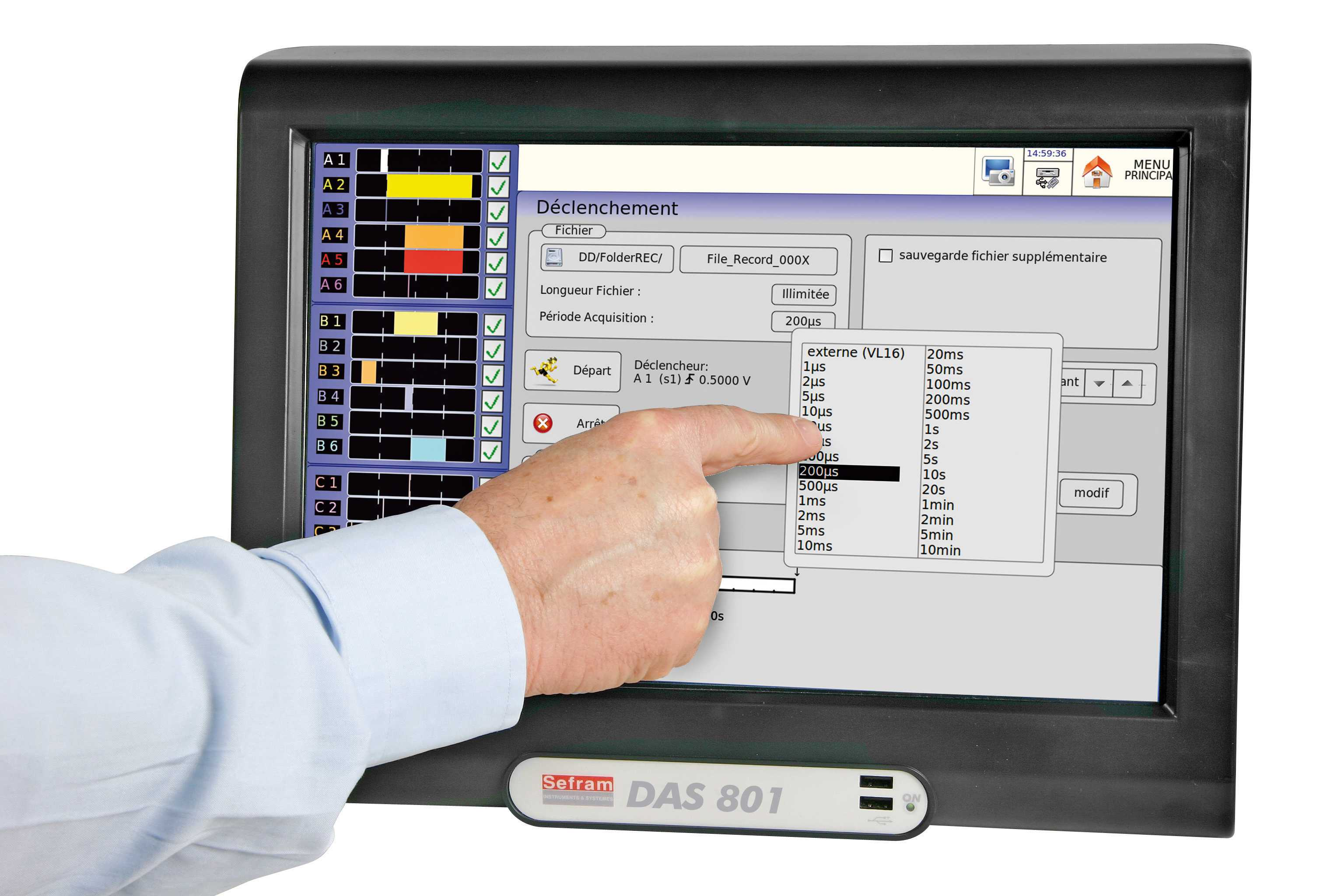 Loggere (inregistratoare) Sefram DAS801SV  - 12 multiplexed channels paperless recorder, panoramic touch screen, no fan