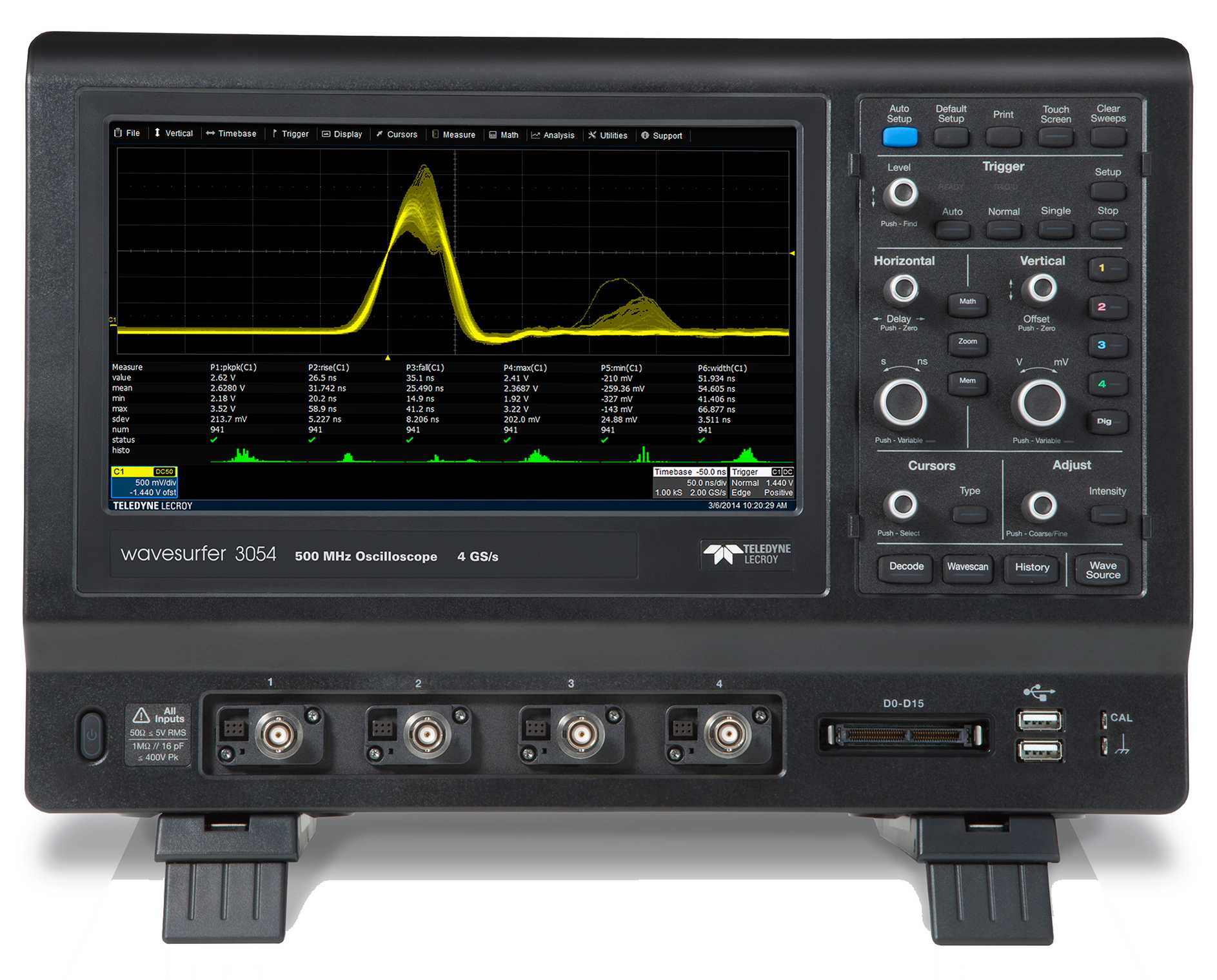 "Osciloscoape Teledyne LeCroy WAVESURFER 3024 - 200 MHz, 4 GS/s, 4 Ch, 10 Mpts/ch DSO with 10.1"" Wide screen Color Touch Screen Display"